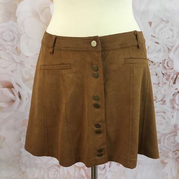 66236cfe2 On The Road Skirts   Camel Faux Suede Snap Front Mini Skirt   Poshmark